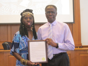 Georgetown County Councilman Johnny Morant presents Queen Quet, Chieftess of the Gullah/Geechee Nation (www.QueenQuet.com) with the Gullah/Geechee Nation Appreciation Week Proclamation.